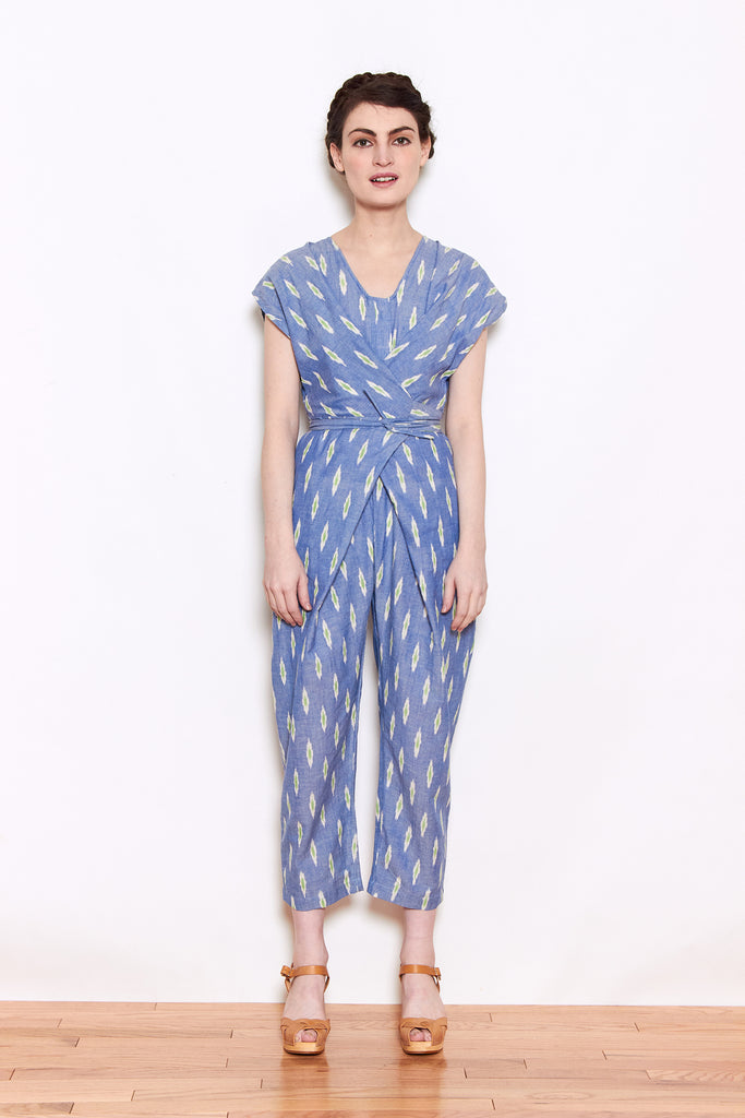 Rujuta Sheth Venus Wrap Jumper in Ikat available at Personnel of New York