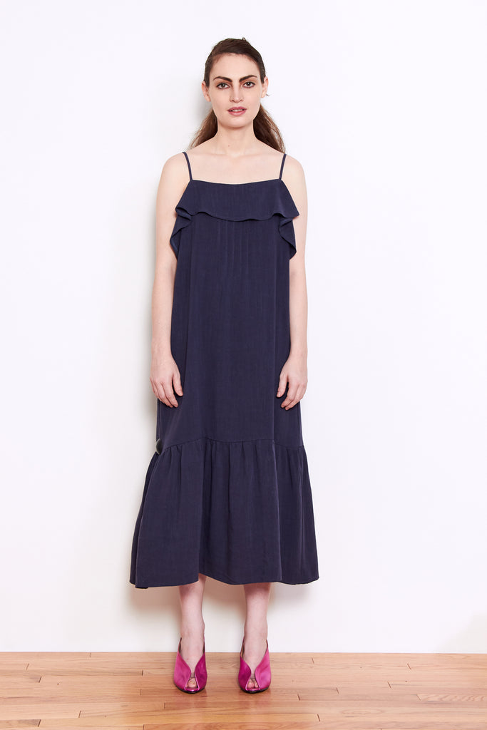 Persons Cora Linen Dress in Navy available at Personnel of New York
