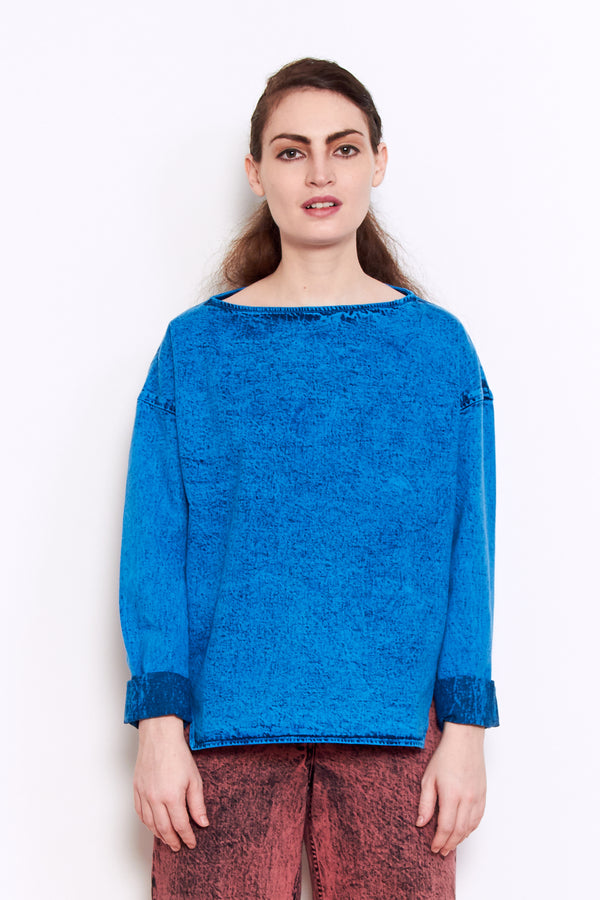 Rachel Comey Barter Top in Blue Acid Wash Denim