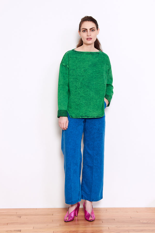 Rachel Comey Barter Top in Green Acid Wash Denim