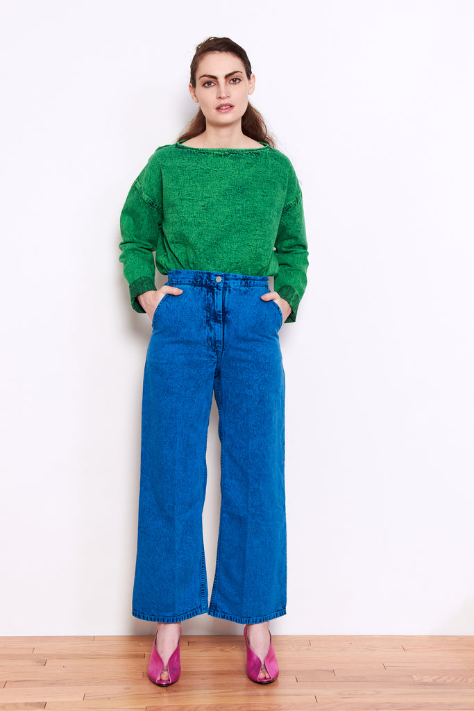 Rachel Comey Clean Bishop Pant in Blue Acid Wash Denim available at Personnel of New York