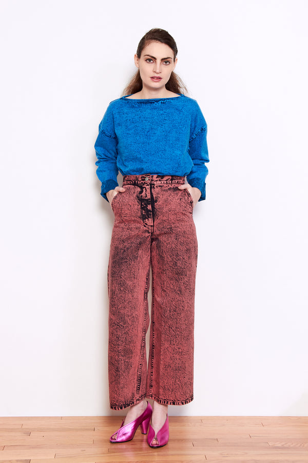Rachel Comey Clean Bishop Pant in Guava Acid Wash Denim
