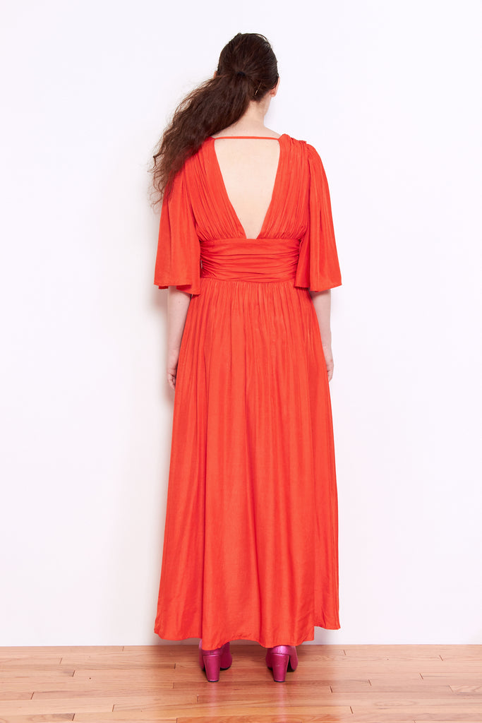 Shale Mare Raphaela Plunging V-Neck Dress in Poppy available at Personnel of New York