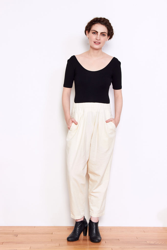 Black Crane Carpenter Pant in Cream available at Personnel of New York