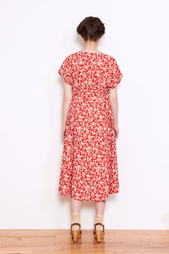 Persons Gunda Side Tie Dress in Red Floral available at Personnel of New York