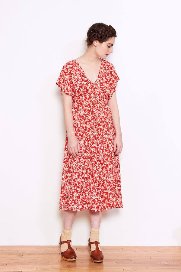 Persons Gunda Side Tie Dress in Red Floral