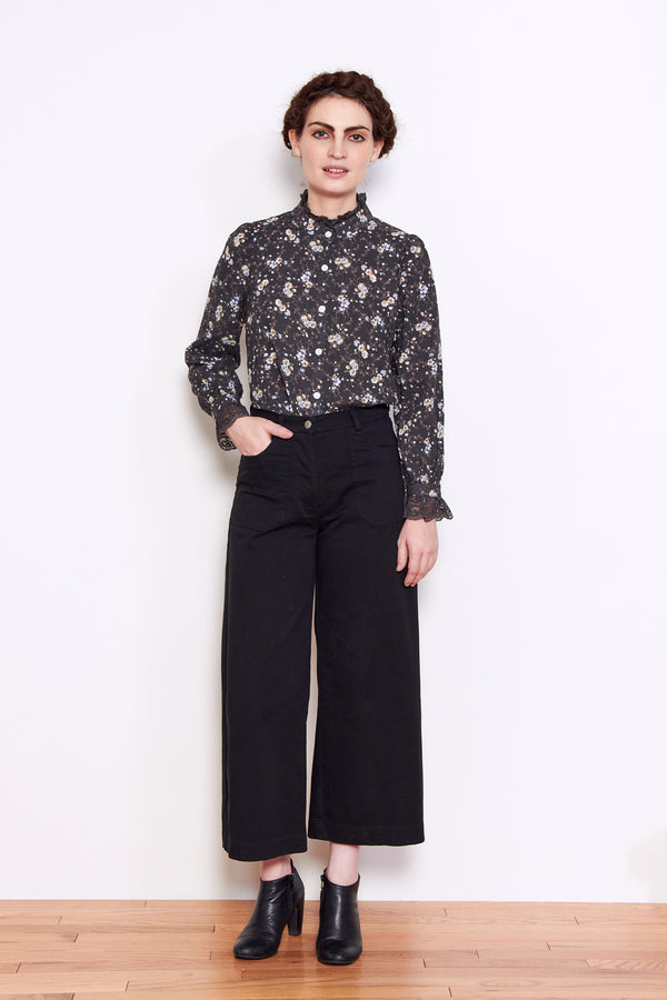 Persons Maggie High Neck Shirt in Faded Black Floral