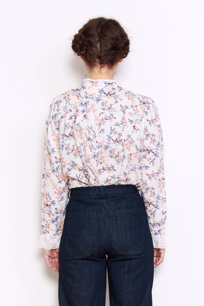 Persons Maggie High Neck Shirt in White Floral available at Personnel of New York