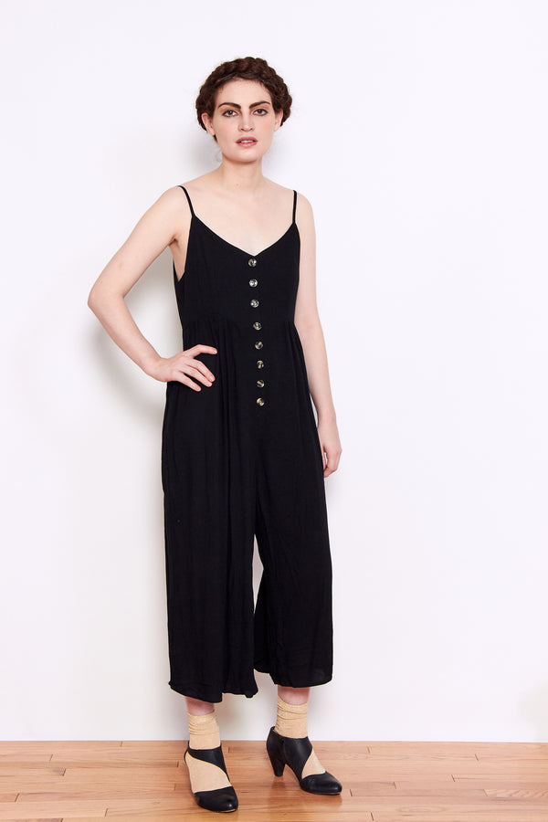 Persons Stella Button Front Crepe Jumpsuit in Black