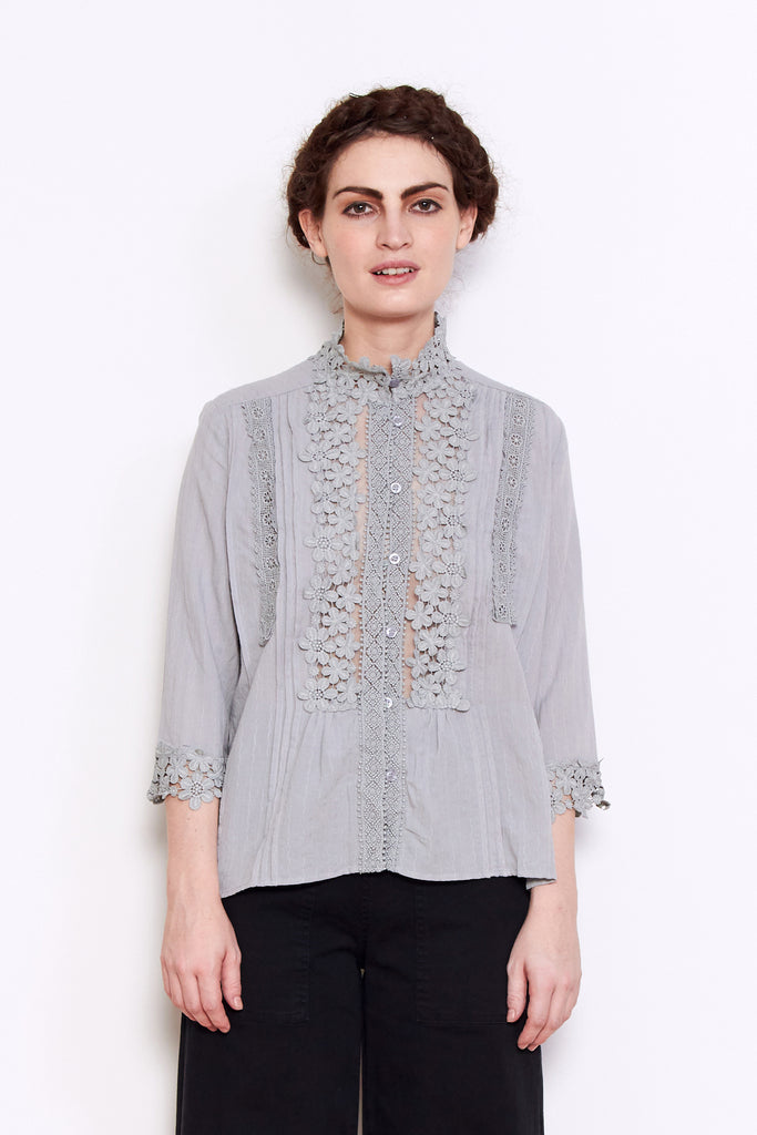 Shale Mare Grizelda Lacey Blouse in Grey available at Personnel of New York