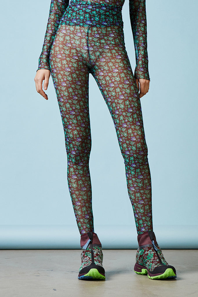 Henrik Vibskov Pollen Tights in Green Flower available at Personnel of New York