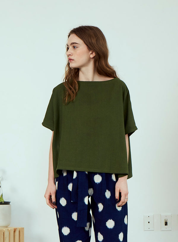 Rujuta Sheth Oversized Box Tee in Olive