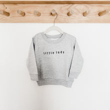 Load image into Gallery viewer, Little Lady Embroidered Crewneck Grey