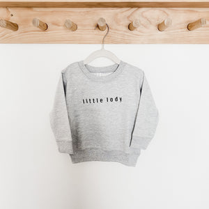 Little Lady Embroidered Crewneck Grey