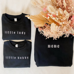 Little Lady Embroidered Crewneck Black