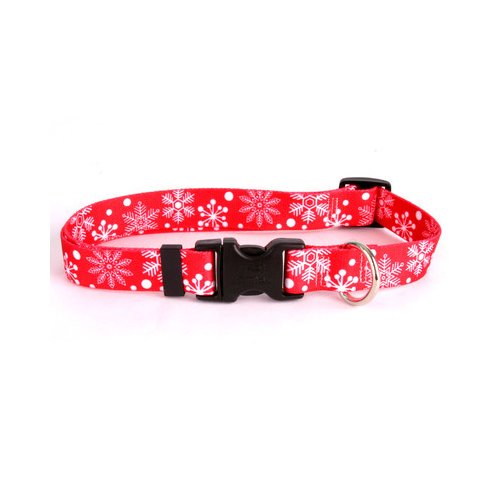Yellow Dog Design Red Snowflakes Dog Collar