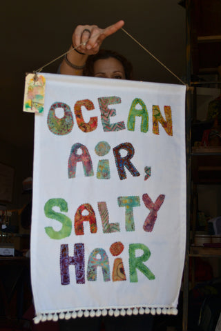 """Ocean air, salty hair"" Flag"