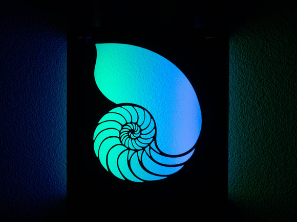 Lunaglow Nautilus Lightsculpture, maple and bamboo, glows blue and green