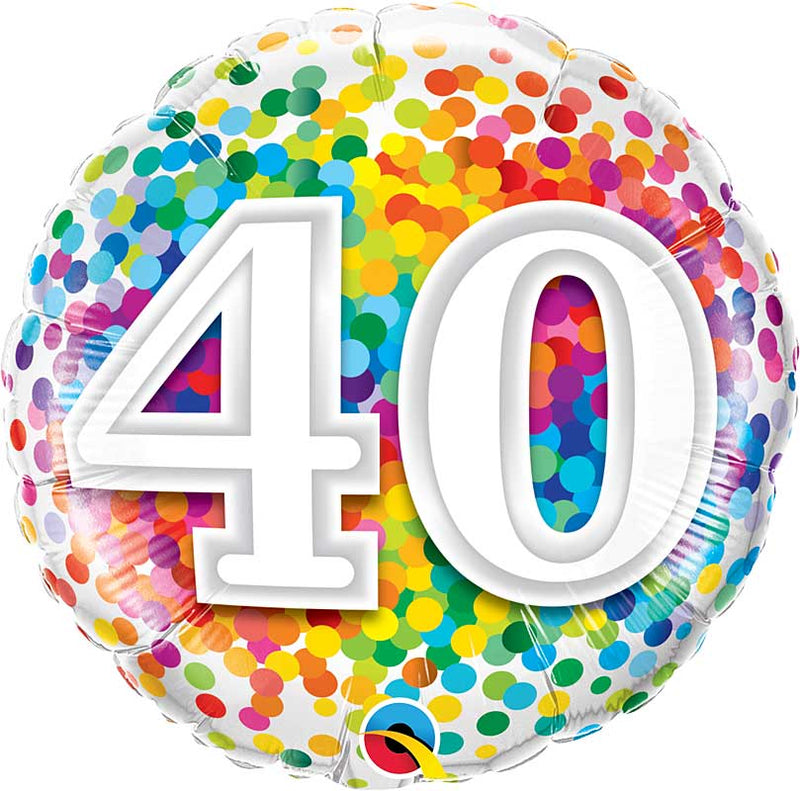 40 Rainbow Confetti Dots Birthday 18in.