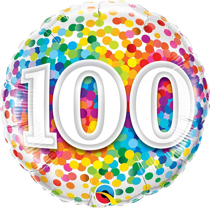 100 Rainbow Confetti Dots Birthday 18in.