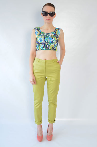Lime green/yellow chino trousers