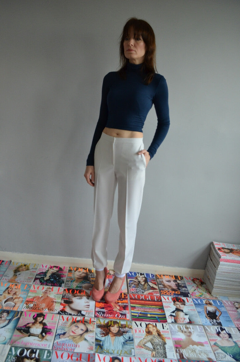 Gabardine trousers with knitted cuffs