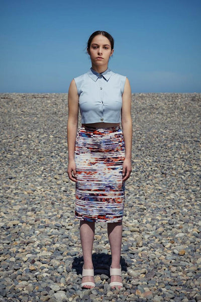 Pencil skirt in print jersey