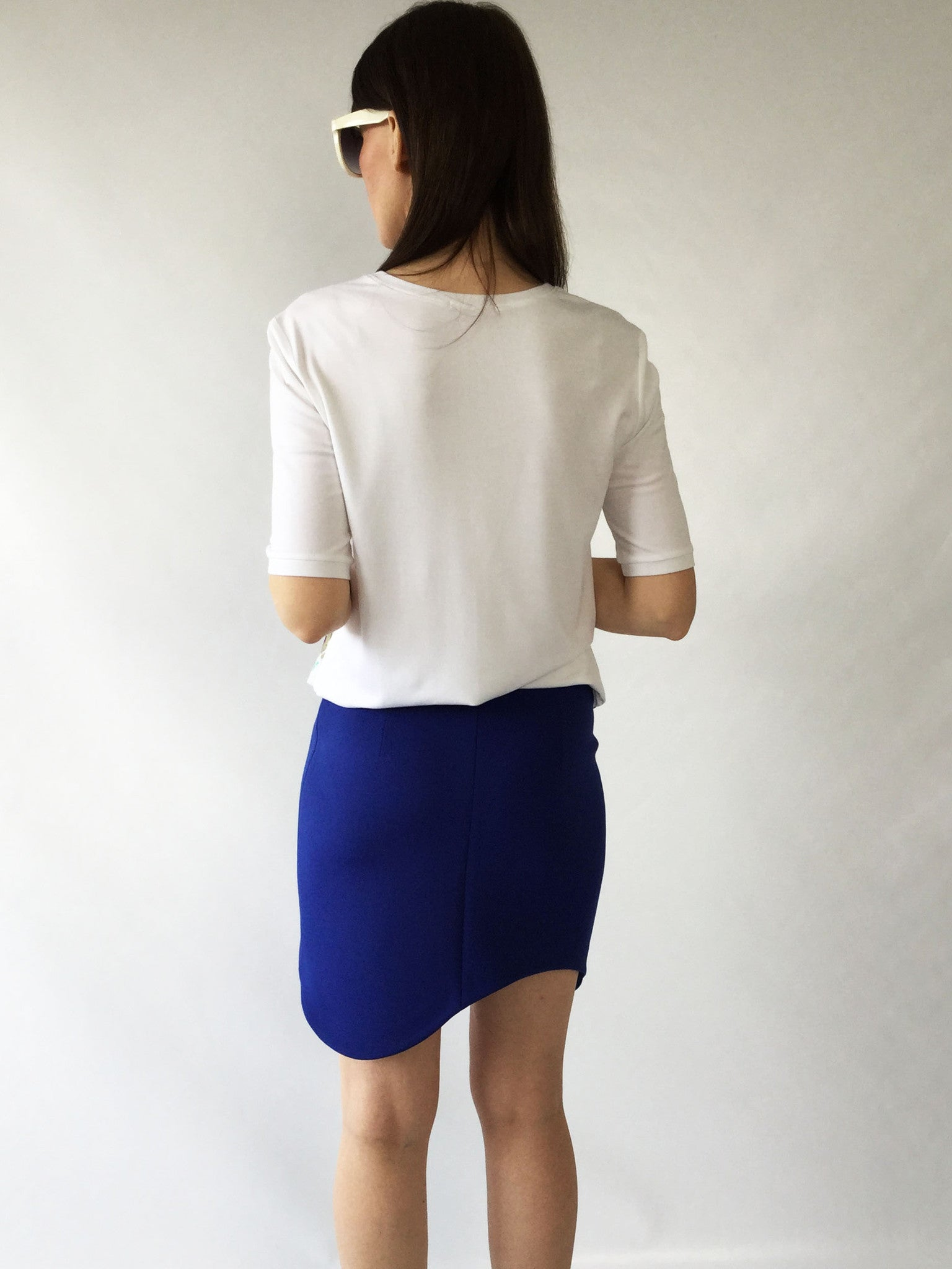 Jersey and woven fabric top
