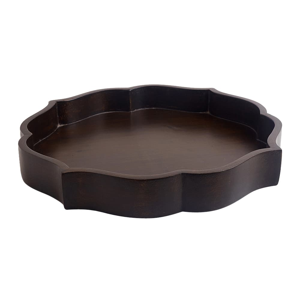 Mehrab Wooden Tray – Charcoal