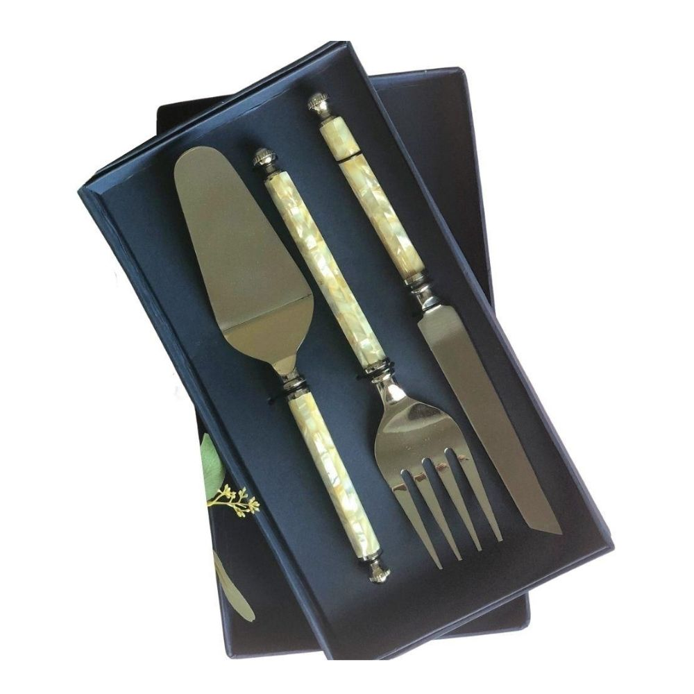 Mother of Pearl Cake Server Set