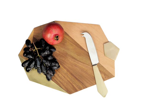 Faceted Wooden Cheese Board
