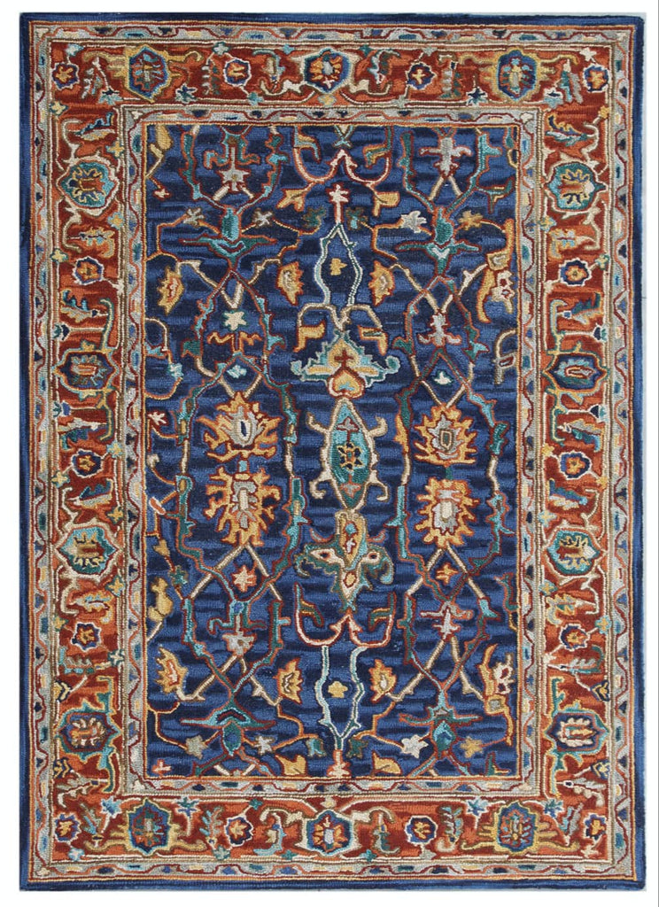 Ornate Navy and Rust Wool Rug