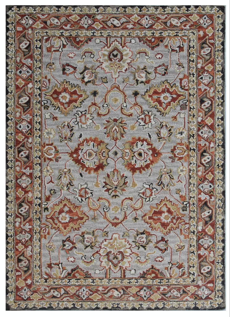 Ornate Beige and Red Wool Rug