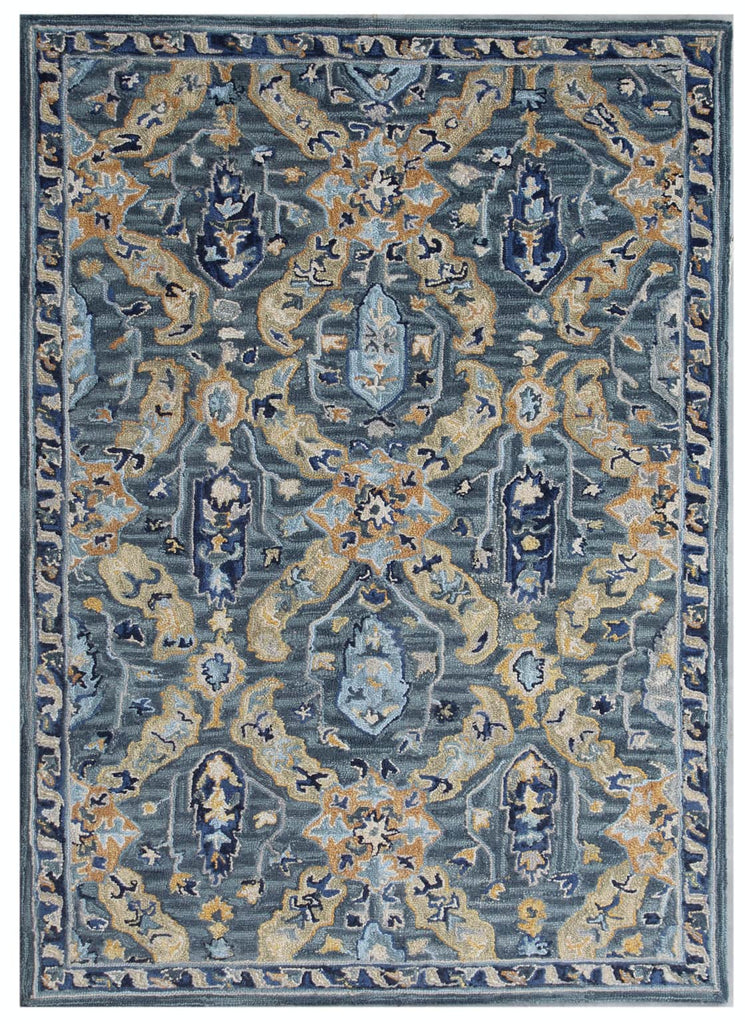 Ornate Blue Wool Rug