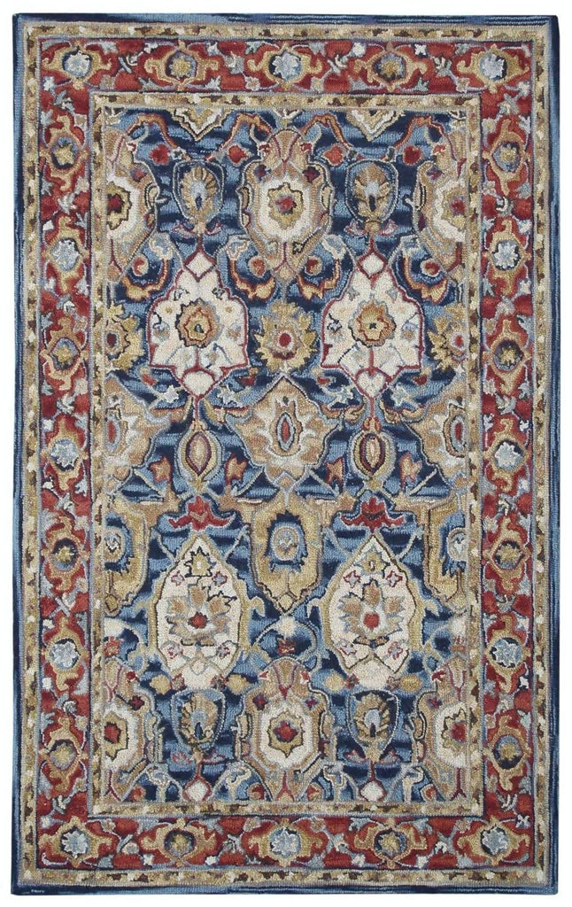 Ornate Blue and Rust Wool Rug