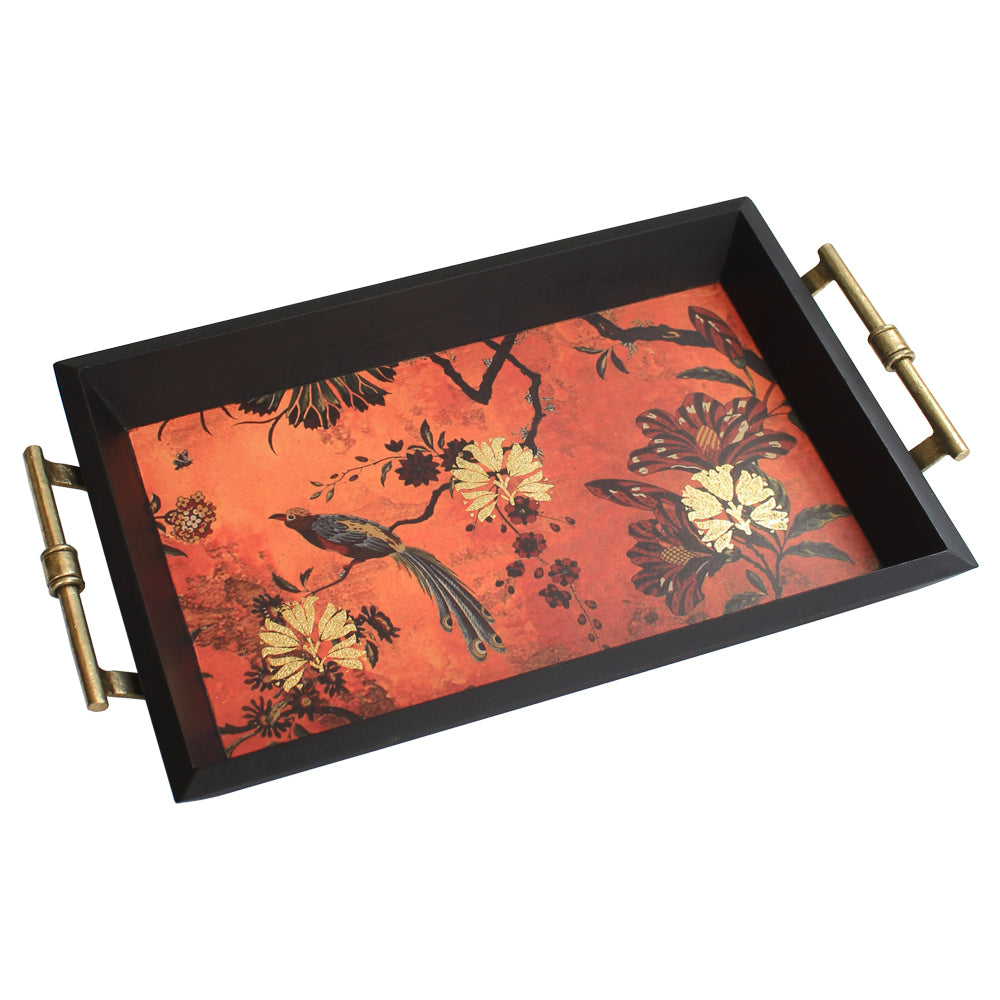 Small Orange Gulbagh Collection Serving Tray