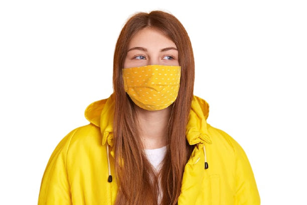 Model Wearing ComfyMasky cotton Face Mask Bright Dash Yellow
