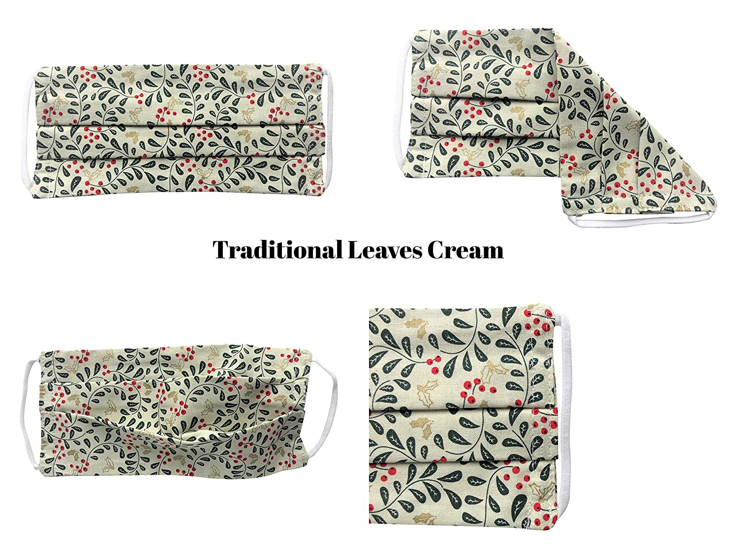 Reusable Traditional Leaves Cream Pleated Cotton Face Mask