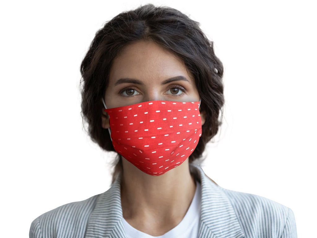 Model Wearing Bright Dash Red Cotton Face Mask