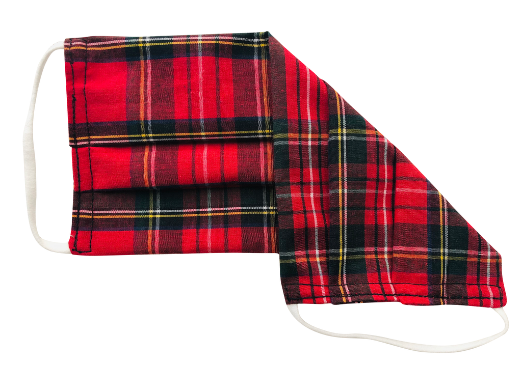 Red Tartan Cotton Face Mask for Adults