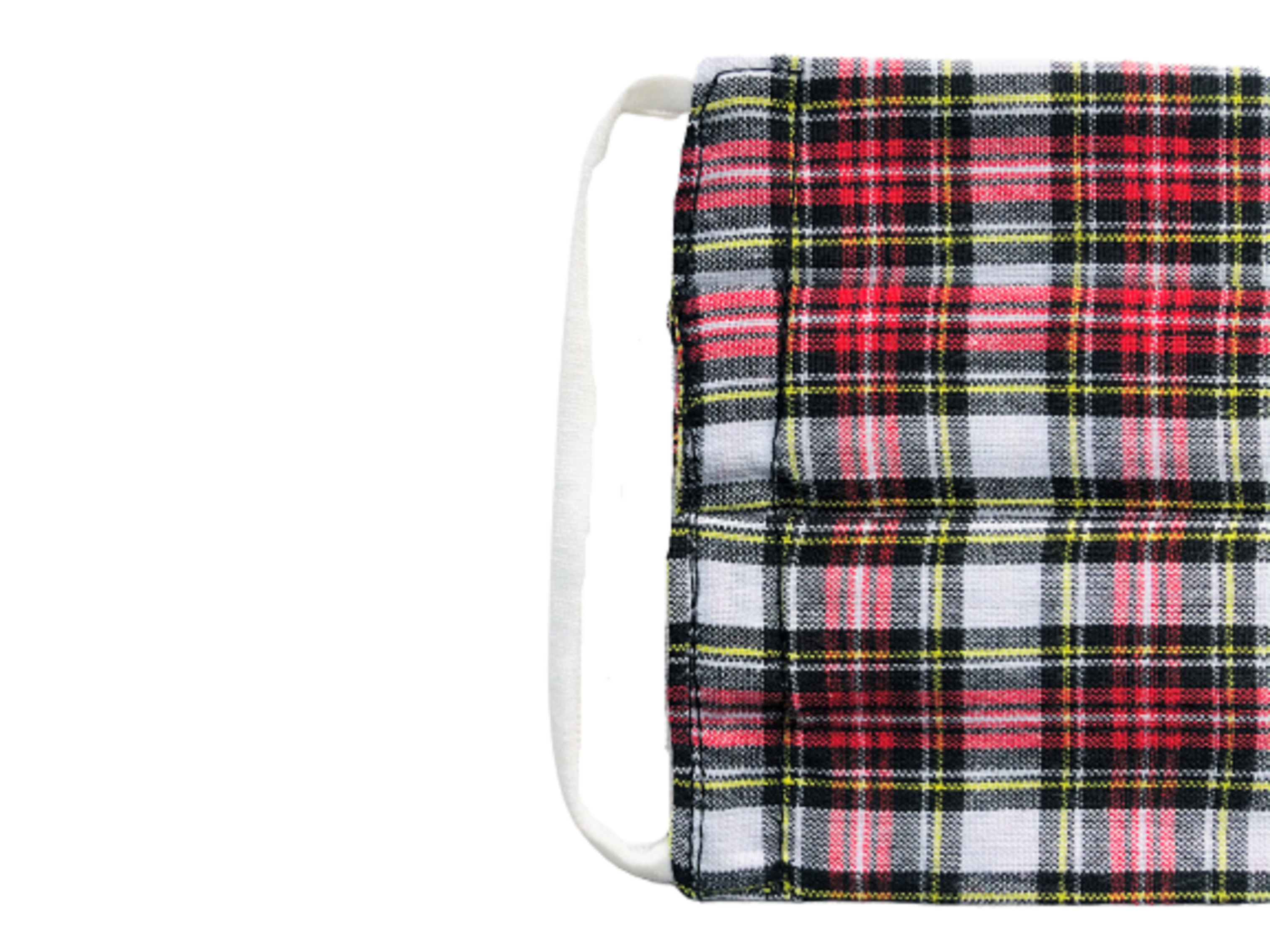 Red on White Tartan Pleated Premium Cotton Face Masks Close-up