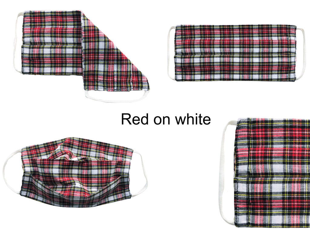ComfyMasky Red on White Tartan Pleated Premium Cotton Face Masks