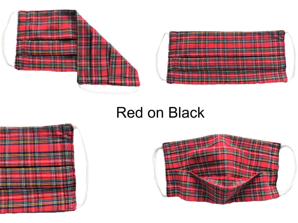 ComfyMasky Red on Black Tartan Pleated Premium Cotton Face Masks