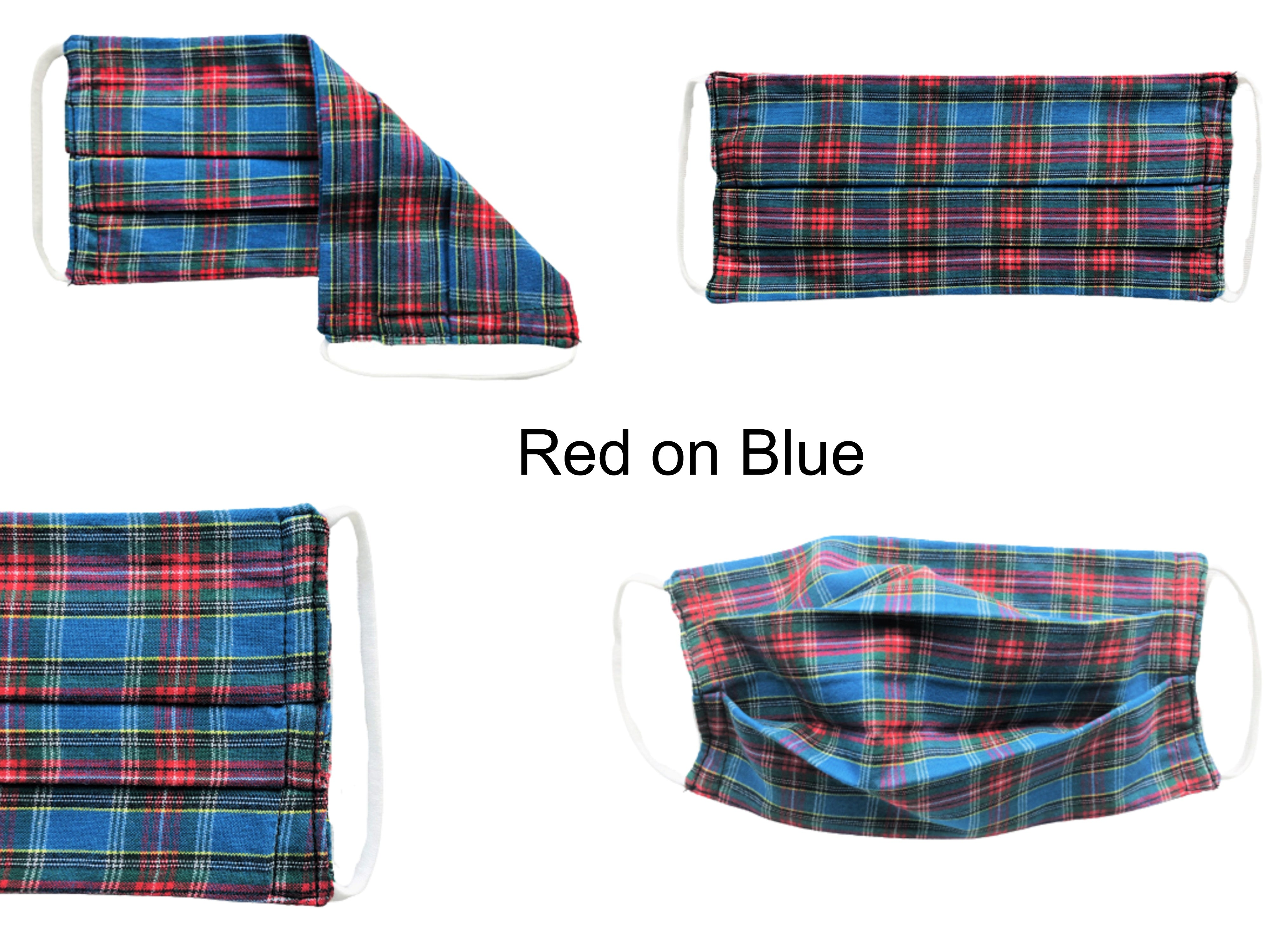 ComfyMasky Red on Blue Tartan Pleated Premium Cotton Face Masks Collage