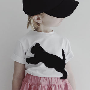 Caroline Bosmans Fuzzy Cat T-Shirt - Black