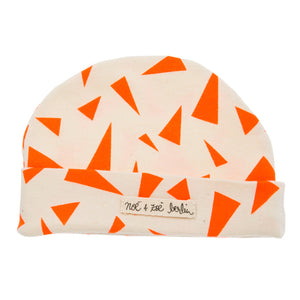 Noé & Zoë Baby Beanie - Orange Triangles