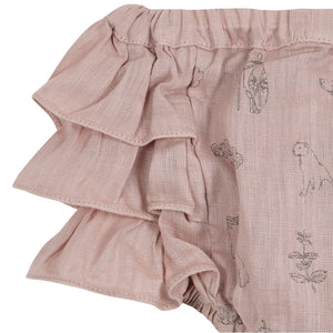Yellow Pelota Linen Folklore Bloomer - Pink Panther
