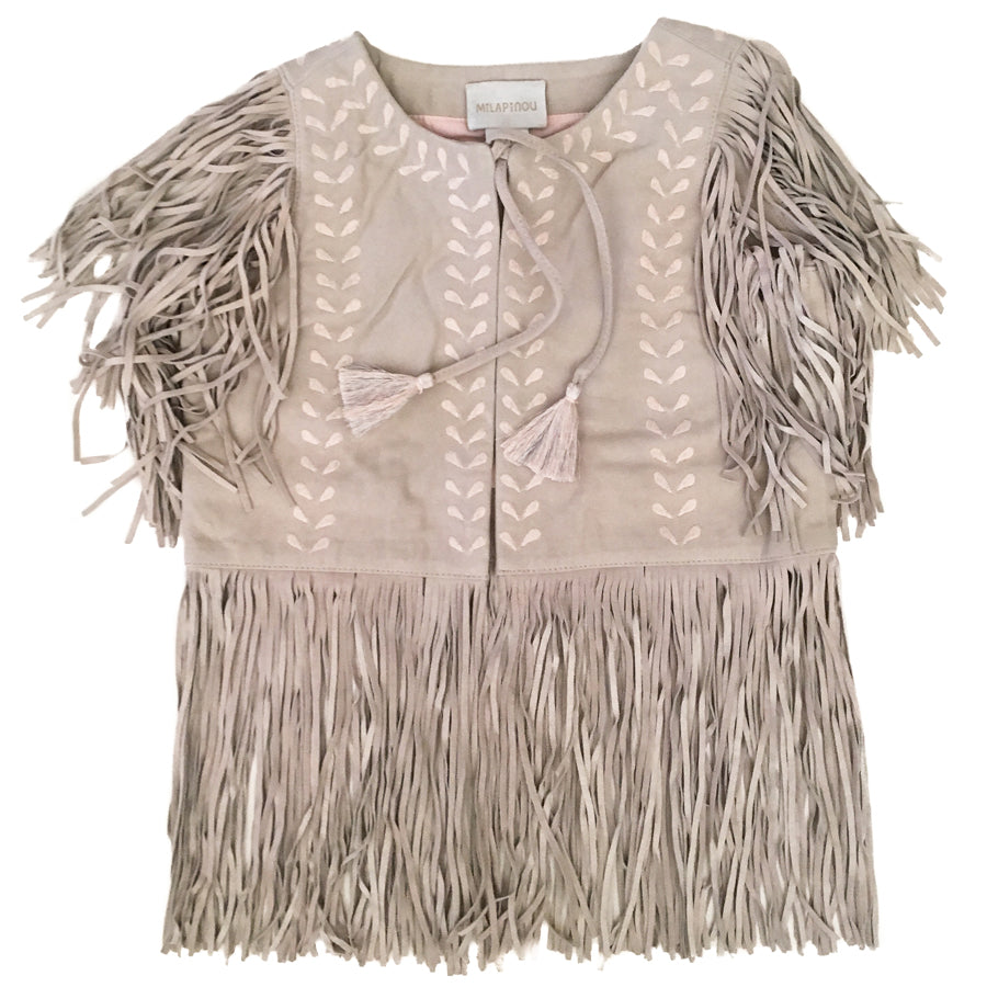 Milapinou Jane Embroidered Suede Vest
