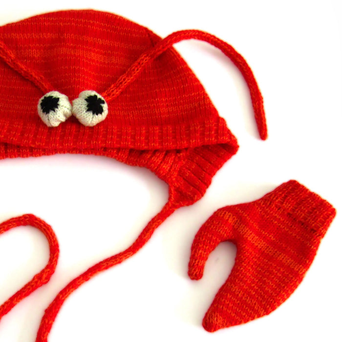 The Miniature Knit Shop Lobster Hat & Mittens