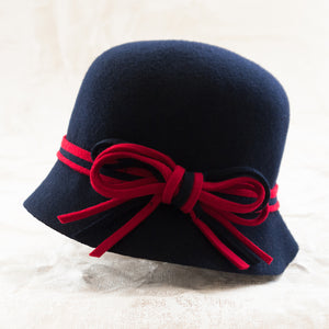Nathalie Verlinden Wool Cloche Hat - Navy